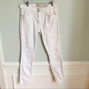 Current/Elliott White Distressed Stilleto Jeans